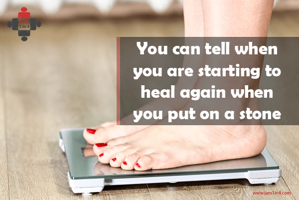 You can tell when you are starting to heal again when you put on a stone